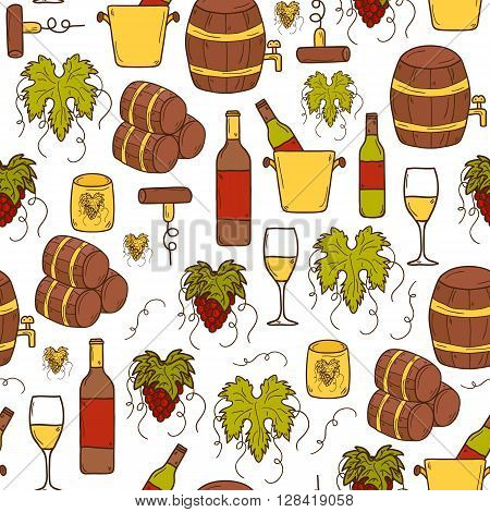 Vineyard or restaurant concept with cartoon wine objects in hand drawn style and seamless background: bottle glass barrel grapes for your design