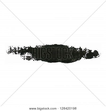 Black Color Paint Smear Vector Brush Stroke. Varnish Splash Line. Abstract Shape Acrylic Oil Paint