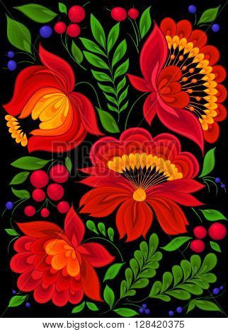 beautiful red flowers with green leaves and blue berries. style of Ukrainian Petrikivka painting. background greeting cards and invitations of the wedding, birthday, Valentine's Day, mother's day