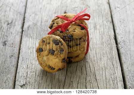 cookies on wooden table, cookies, chocolate, chip,