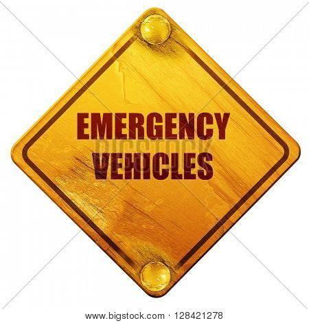 Emergency services sign, 3D rendering, isolated grunge yellow ro