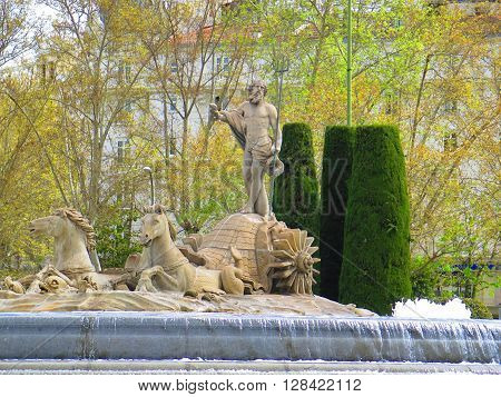 The Fountain of Neptune in the Plaza Canovas de Castillo Madrid Spain