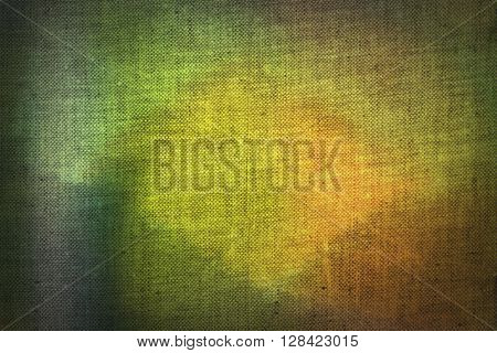 Yellow, green and brown pattern applied to canvas texture