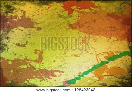 Splashes of color on yellow background with added grunge effect