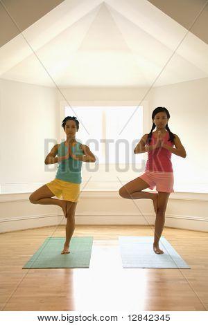 Two young women balancing doing yoga tree pose.