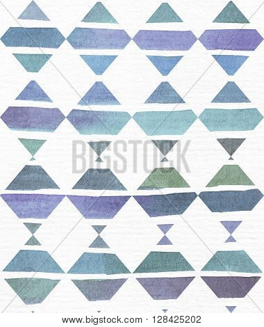 Blue and purple illustration cool and branding freehand texture based on watercolor gradient stripes in rhombus and white watercolor textured paper. Large grainy bright template with imperfections for your presentation
