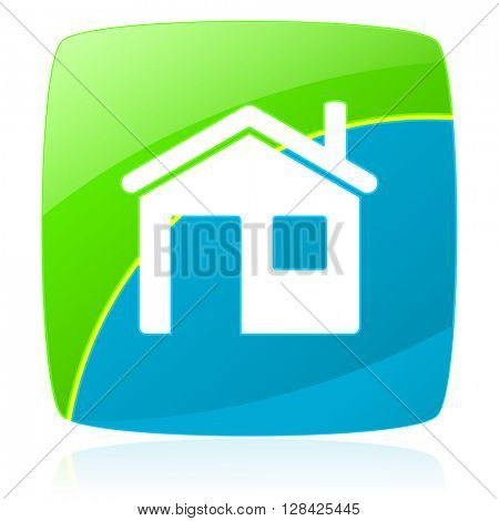 house green and blue glossy web icon
