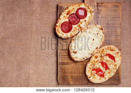 Turkish Pita Bread With Cottage Cheese, Chicken, Salami