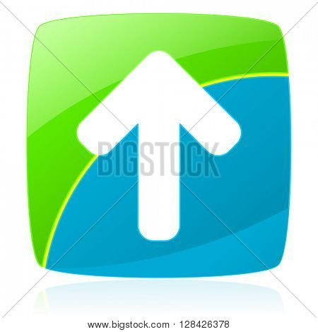 arrow green and blue glossy web icon