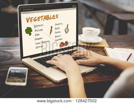 Vegetables Nutrition Shopping List Concept