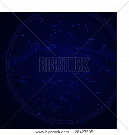 Zodiac star map with constellations isolated on white. Milky way and stars.