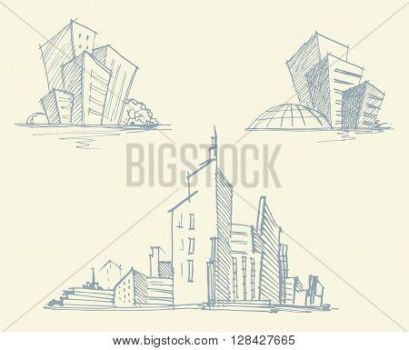 Hand drawn sketches of urban silhouettes. Vector illustration