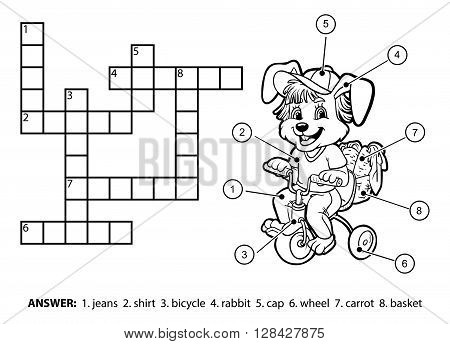 Vector Colorless Crossword. Little Rabbit Riding A Bicycle