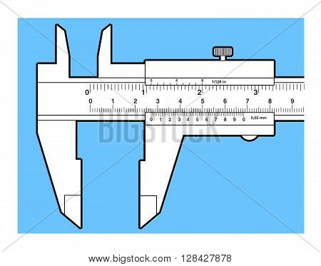Vernier caliper tool isolated on white. Sliding caliper illustration.