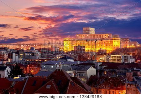 Bucharest Aerial View of Parliament Palace at Sunset