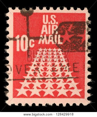 ZAGREB, CROATIA - SEPTEMBER 06: United States stamp used for overseas air mail deliveries showing air mail symbols and the print U.S. Air Mail, circa 1968, on September 06, 2014, Zagreb, Croatia