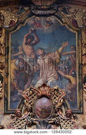 KOTARI, CROATIA - SEPTEMBER 16: The stoning of St. Stephen on the Saint Joseph altar in the church of Saint Leonard of Noblac in Kotari, Croatia on September 16, 2015.
