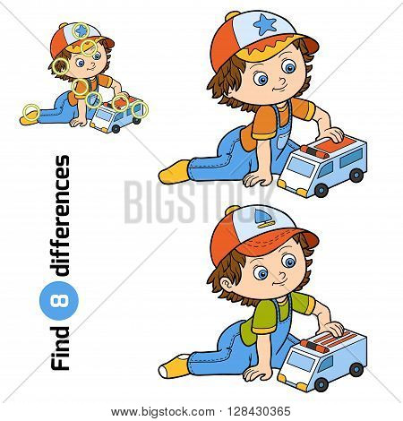 Find Differences. Little Boy Plays With Ambulance Car