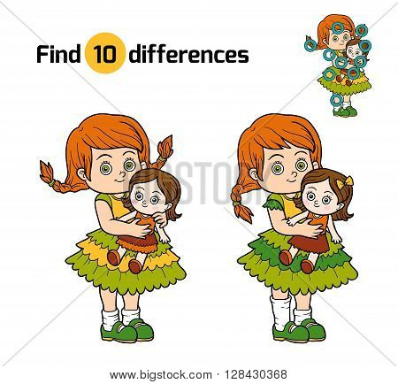 Find Differences. Little Girl With A Doll In Hands
