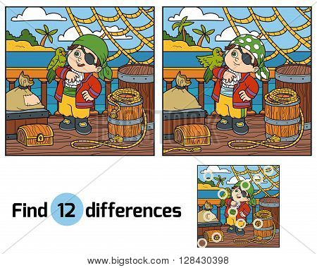 Find Differences For Children. Pirate On The Deck Of A Ship