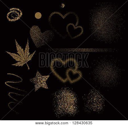 Vector abstract glitter background with golden design elements.