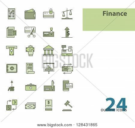 Outline modern vector icons- money, finance, payments.