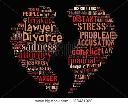 Divorce Broken Heart, Word Cloud Concept 4