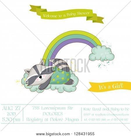 Baby Shower or Arrival Card - Baby Rac?oon Girl - in vector
