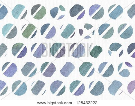 Blue and purple illustration cool and branding freehand texture based on watercolor gradient stripes in small circles and white watercolor paper on background. Large grainy image with imperfections for your design
