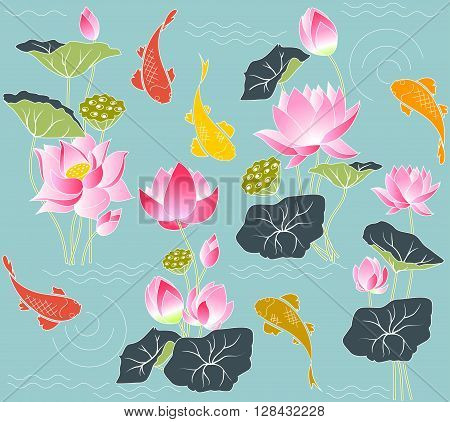 Flowers and leaves of the lotus and koi carp seamless vector illustration