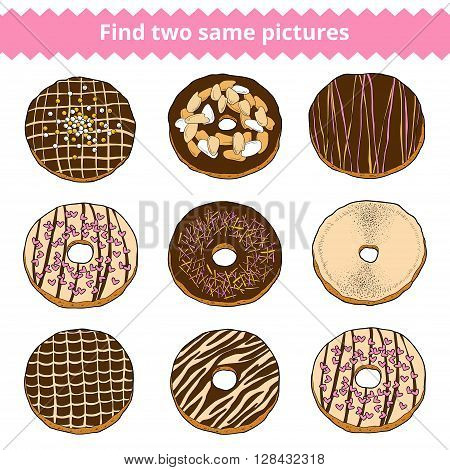 Find Two Same Pictures. Vector Color Set Of Donuts
