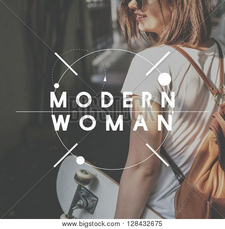 Modern Woman Style Happy Girls Concept