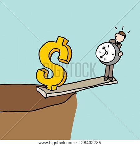 An image of a man at the edge of a cliff balancing time and money.