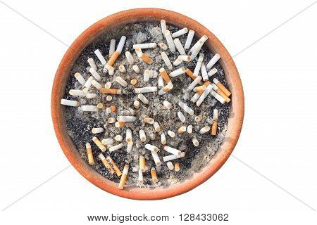 Cigarette butts in the ashtray isolated in white background. The concept of World No Tobacco Day in 31 May stop smoking do not smoke quit smoking protect your health and other.