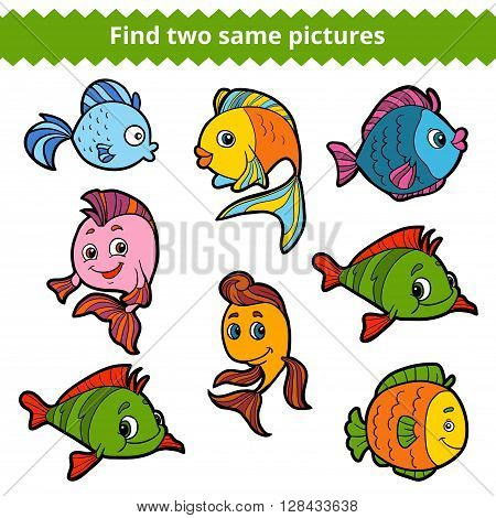 Find Two Same Pictures. Vector Color Set Of Fishes