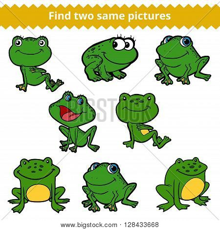Find Two Same Pictures. Vector Color Set Of Frogs