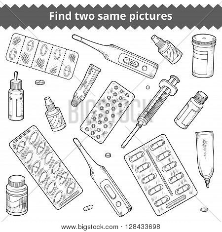 Find Two Same Pictures. Medical Vector Black And White Set