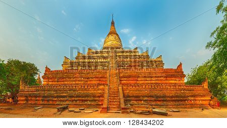 Buddhist pagoda Shwesandaw in Bagan. Myanmar. Panorama