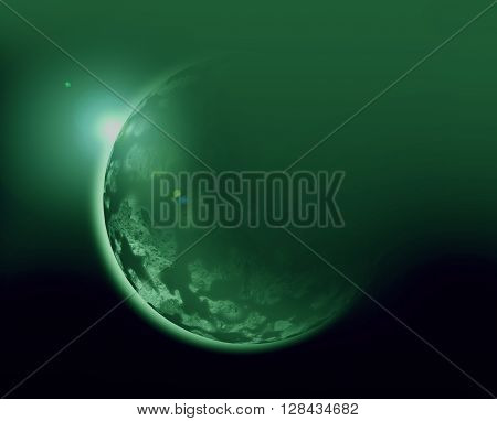 green planet 3d illustration in universe concept.