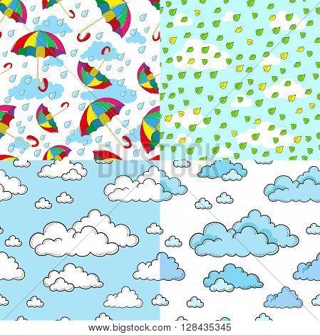 Pattern Collection. Autumn seamless pattern. Sky, rain, clouds, umbrellas.