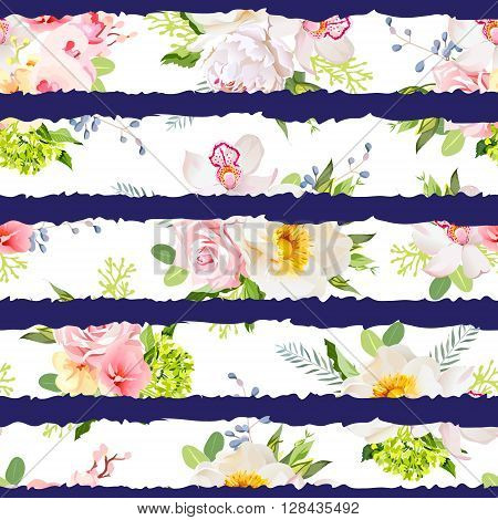 Navy striped print with bouquets of wild rose peony orchid bright garden flowers and leaves. Seamless vector pattern.