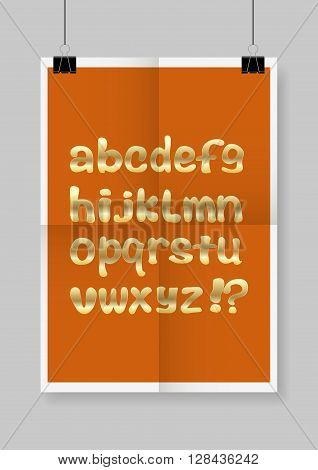 English alphabet. Twice a folded orange poster with clamps. Vector illustration.