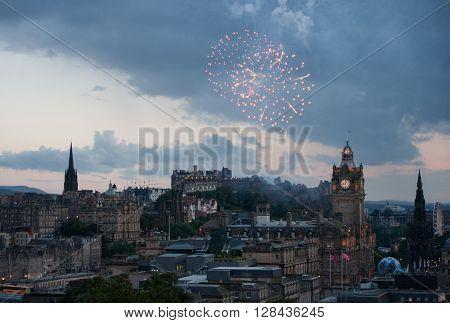 Fireworks over the city centre in Edinburgh, Scotland