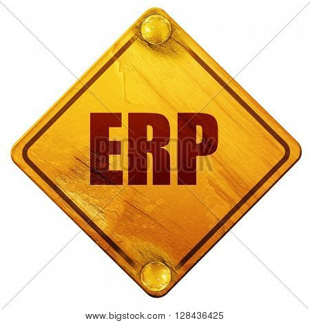 erp, 3D rendering, isolated grunge yellow road sign