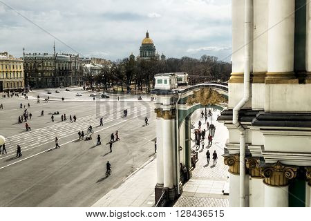 17 April 2016. Saint-Petersburg.Palace square and St. Isaac's Cathedral in Saint Petersburg.Russia.