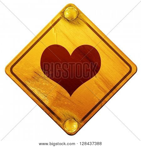 Hearts card background, 3D rendering, isolated grunge yellow road sign