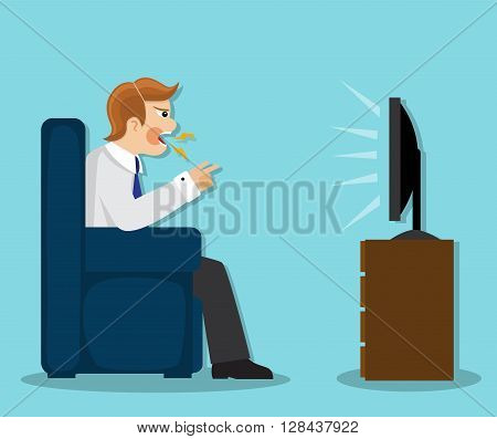 aggressive man sitting in a chair, cursing and watching TV