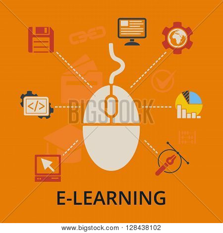 E-learning concept. Computer mouse with education icons. Internet education vector illustration on orange.