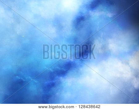 Blue fog in deep space computer generated abstract background
