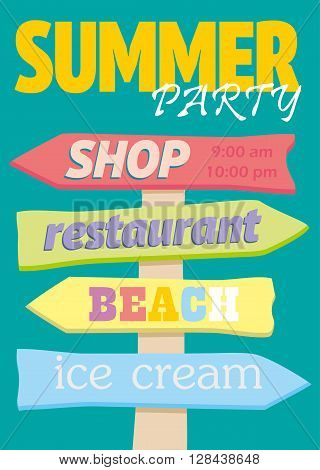 Beach signboard. Index trends for different institutions. The arrow direction. Vector illustration